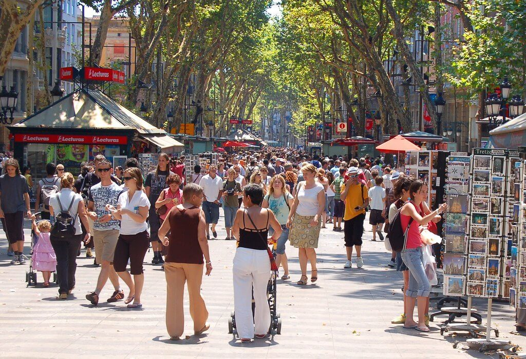 Tourists walking down Las Ramblas